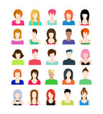 Set of people icons in flat style with faces. Vector women character. Template concept collection for web profile avatar Stock Photography