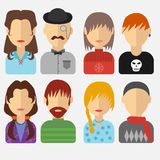 Set of people icons in flat style with faces. Vector women, men character Stock Image