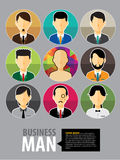 Set of people icons in flat style with faces. Vector women, men character Stock Photography