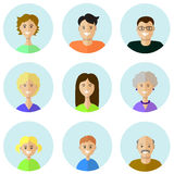 Set of people icons in flat style with faces. Vector women, men character Stock Photos