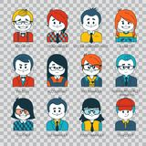 Set of people icons in flat style with faces. People avatars. Illustration on transparent background. Set of people icons in flat style with faces. Vector women Stock Images
