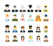 Set of people icons in flat style with faces. Set of people workers in uniform icons in flat style with faces. Vector men and women character. Template concept Stock Photo