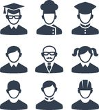 Set of people icons. Occupation avatars in black and white style Stock Photo