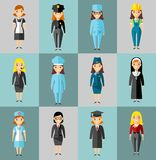 Set of people icons. Occupation avatars in colorful style Stock Photos