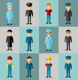 Set of people icons. Occupation avatars in colorful style Royalty Free Stock Photos