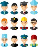 Set of people icons. Occupation avatars in colorful style Royalty Free Stock Photography