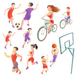 Set of people involved in different kinds sports. Football, running, cycling, basketball. athletes vector images on a white background. Sportsmen in the form Stock Image