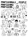 Set of People Occupations Doodles Royalty Free Stock Photography