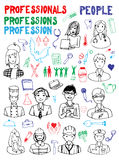 Set of People Occupations Doodles Royalty Free Stock Image