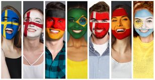 Set of people with painted flags on faces