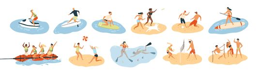 Set of people performing summer sports and leisure outdoor activities at beach, in sea or ocean - playing games, diving. Surfing, riding water scooter stock illustration