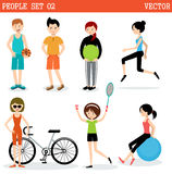 Set of the people playing sports. Royalty Free Stock Photo