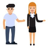 Set of people point to something. Flat man and woman vector illustration. Royalty Free Stock Image