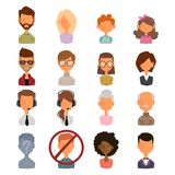 Set of people portrait face icons web avatars flat Stock Photo