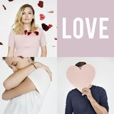 Set of people portraits with love concepts Stock Photography