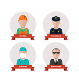 Set of people professions icons. flat design Stock Photos