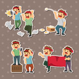 Set of people protest stickers. Cartoon vector illustration Royalty Free Stock Images
