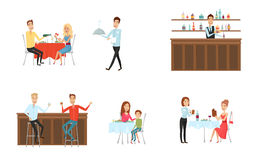 Set of people in restaurant and at the bar. Flat and cartoon style. Different background. Vector illustration. Stock Images