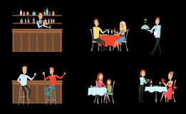 Set of people in restaurant and at the bar. Flat and cartoon style. Different background. Vector illustration. Royalty Free Stock Image