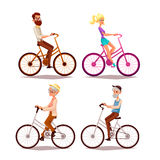 Set of people ride a bicycle Royalty Free Stock Images