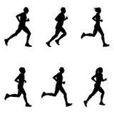 Set people running. Marathon black silhouette Royalty Free Stock Images