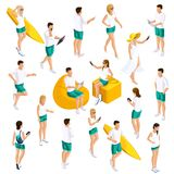 A set of people`s isometrics for vector illustrations, characters in different poses, 3D teenagers, modern girls and guys. In light summer clothes in different stock illustration