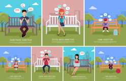 Set of People`s Modern Addictions Concept Vectors. Collection of internet, game, social media, smartphone addictions concepts. Vector in flat design. People Royalty Free Stock Images