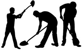 Set of people with shovels Stock Images