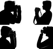 Set Of People Silhouettes Taking Pictures Stock Image