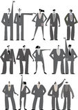 Set of  people silhouettes on white Stock Images