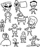 Set of people - simple cartoon drawings Stock Photo