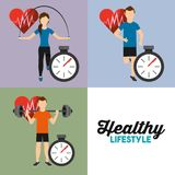 Set people sport athletic heart rate and chronometer healthy lifestyle. Vector illustration vector illustration