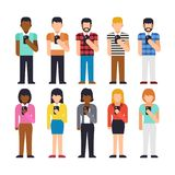 Set of people stand using smartphone. Hand holding Royalty Free Stock Photo