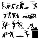 Zombie Undead Attack Pictogram. A set of people stick figure pictograms representing zombie outbreak and attacking people and heroes defending the invasion Stock Image