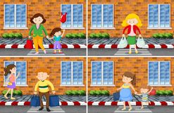 Set of people street scenes. Illustration vector illustration