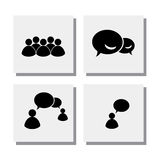 Set of people talk discuss meet - vector icons Royalty Free Stock Images