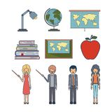 Set people teacher and element to teaching profession. Vector illustration Stock Photo