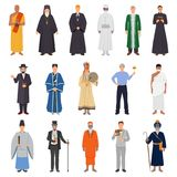 People World Religions Set. Set of people in traditional costume from world religions including islam, catholicism, orthodoxy, buddhism isolated vector royalty free illustration