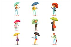 People with umbrellas. Smiling man and woman walking under umbrella colorful characters vector Illustrations isolated on Royalty Free Illustration