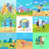 Set of People on Vacation Vector Flat Concepts Royalty Free Stock Photography