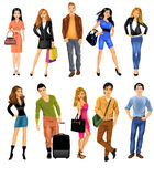 Set of people. Vector collection of modern men and women isolated on a white background Stock Image