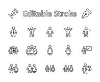Set of people vector line icons. It contains the symbols of a man, a woman, a family, a toilet, a businessman, a teacher vector illustration