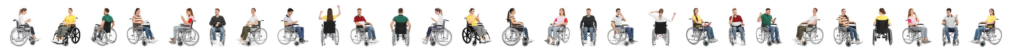 Set of people in wheelchairs on white. Banner design royalty free stock photo
