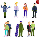 Set of people in winter clothes / man with a snowboard Royalty Free Stock Photo