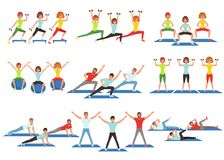 Set of people working out in gym. Young girls and guys doing exercises. Physical activity. Healthy lifestyle. Men and. Set of people working out in gym or Royalty Free Stock Photos