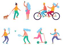 Set of Peoples Activities Vector Illustration Royalty Free Stock Image