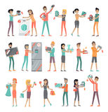 Set of Peoples on Electronics Store Sale. Set of peoples on store sale. Flat design. Man and woman happy characters holding different goods with sale stickers on Royalty Free Stock Photography