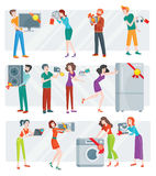Set of Peoples on Electronics Store Sale Vector Royalty Free Stock Photo
