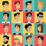 Set of Peoples Faces Vector in Flat Design. Set of peoples faces vector in flat style. Collection of business characters heads on different colors background Royalty Free Stock Photo