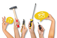 Set of peoples hands holding tools Royalty Free Stock Photography